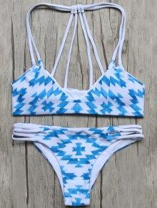 Geometric Pattern Padded Stringy Bikini - Blue And White