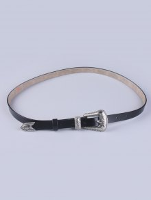 Vintage Pin Buckle Waist Belt - Black