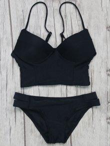 Long Line Bikini Top And Bottoms - Black