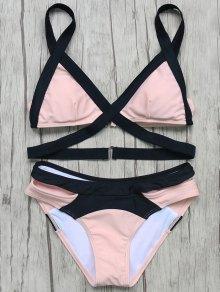 Patchwork Bandage Bikini Set - Pink