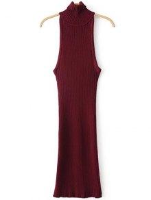 Vestido De Suéter Sin Mangas De Cuello De Rodillo - Burdeos