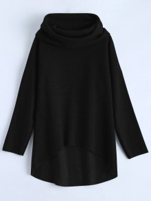 High-Low Tunic Hoodie - Black