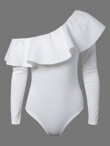 Ruffles Long Sleeve Skinny Bodysuit - White M