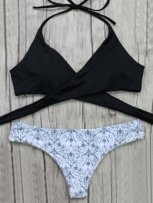 Wrap Bikini Top And Baroque Bottoms - White And Black M