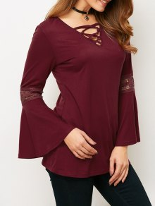 Flare Sleeve Lace-Up T-Shirt