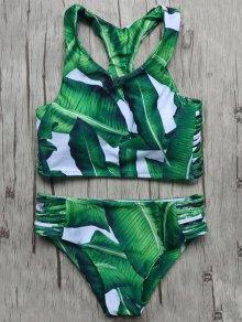 Leaves Print Cut Out Bikini Set - Green