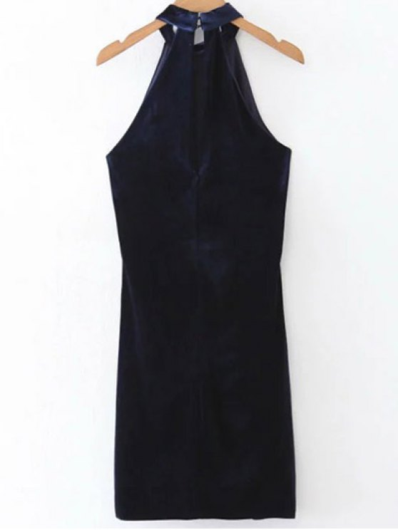 Halter Velvet Bodycon Dress - PURPLISH BLUE S Mobile