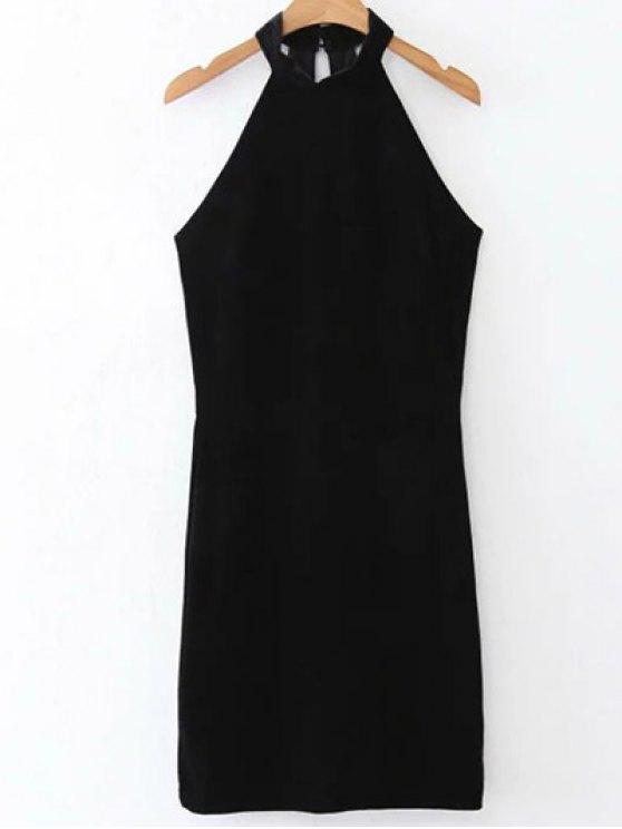 buy Halter Velvet Bodycon Dress - BLACK L
