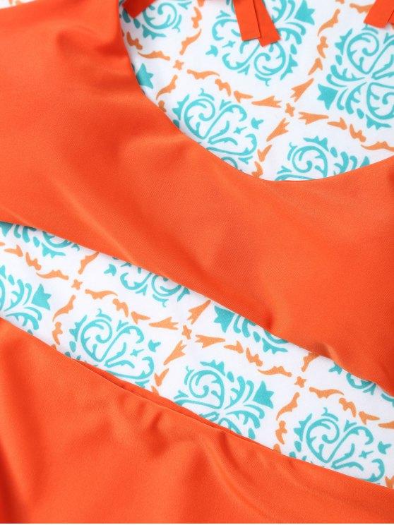 Tasselled Halter Bikini Set - ORANGE L Mobile
