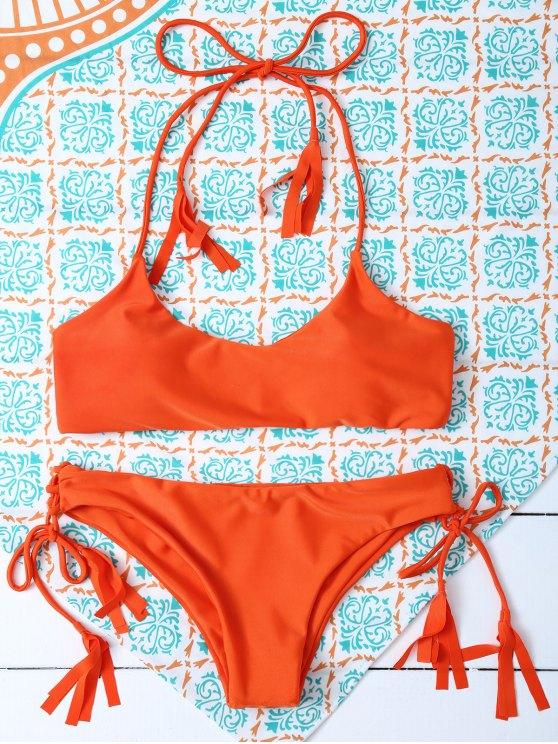 Tasselled Halter Bikini Set - ORANGE M Mobile