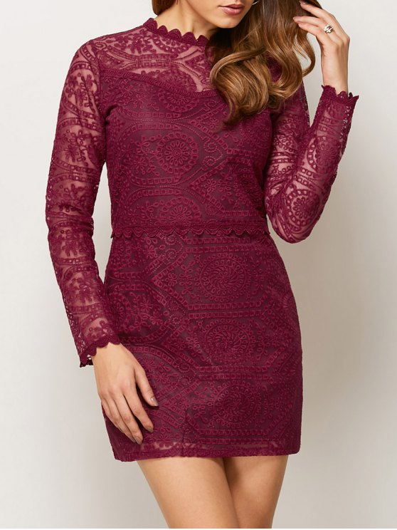 sale Lace Ruff Collar Mini Dress - BURGUNDY S