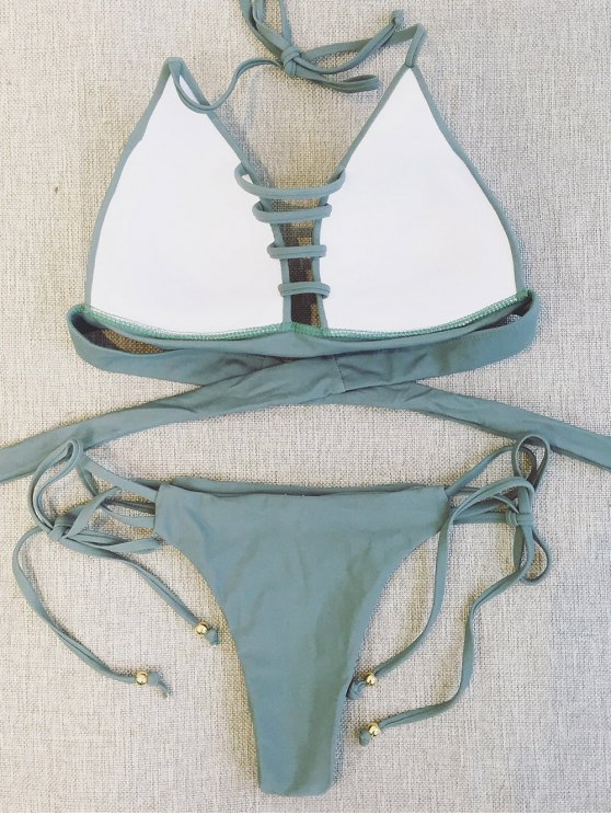 Plunge Bikini Top and Thong Bikini Bottoms - SAGE GREEN L Mobile
