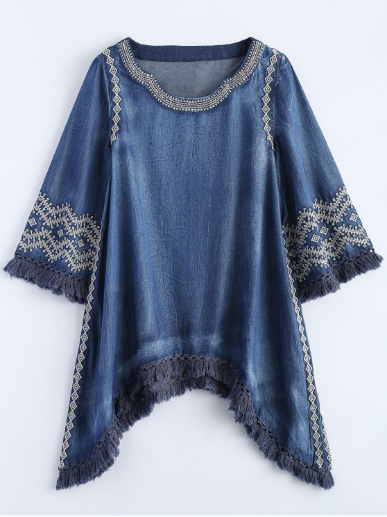 fancy Sharkbite Hem Denim Dress - BLUE M