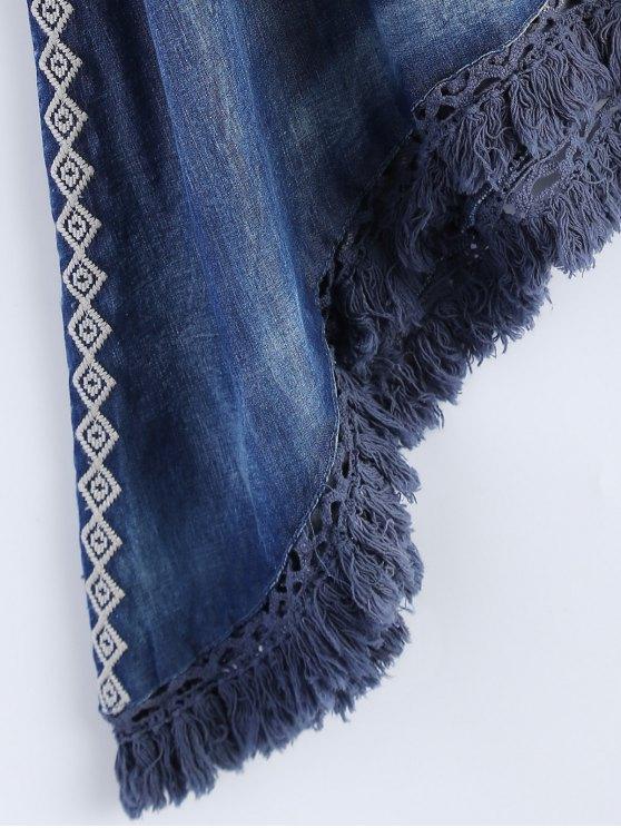 Sharkbite Hem Denim Dress - BLUE M Mobile