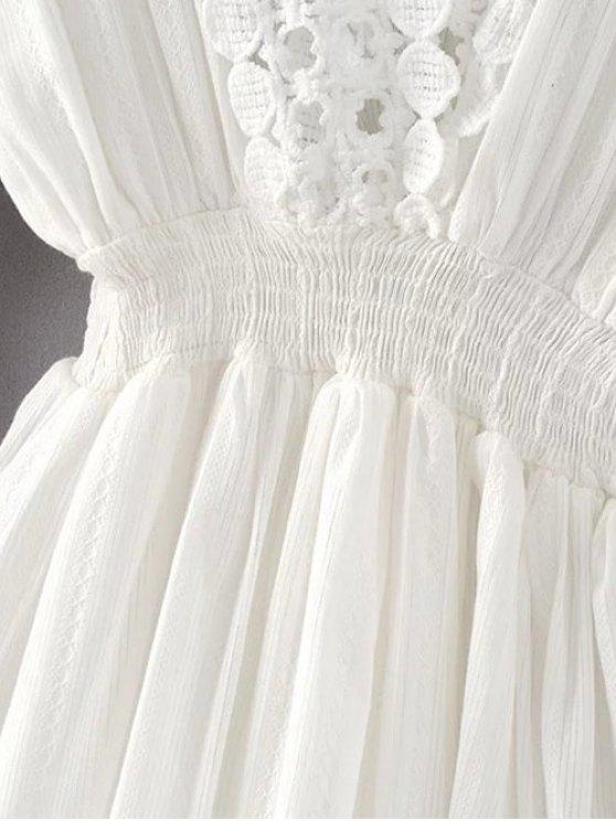 Shirred Lacework Dress - WHITE S Mobile