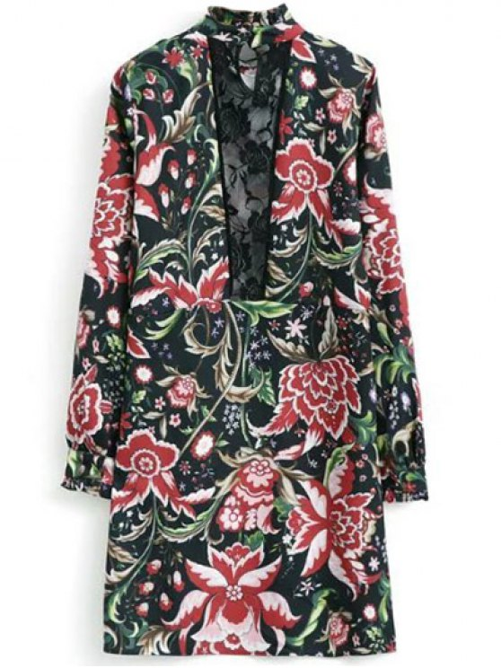 Floral Printed Lace Panel Tunic Dress - FLORAL L Mobile