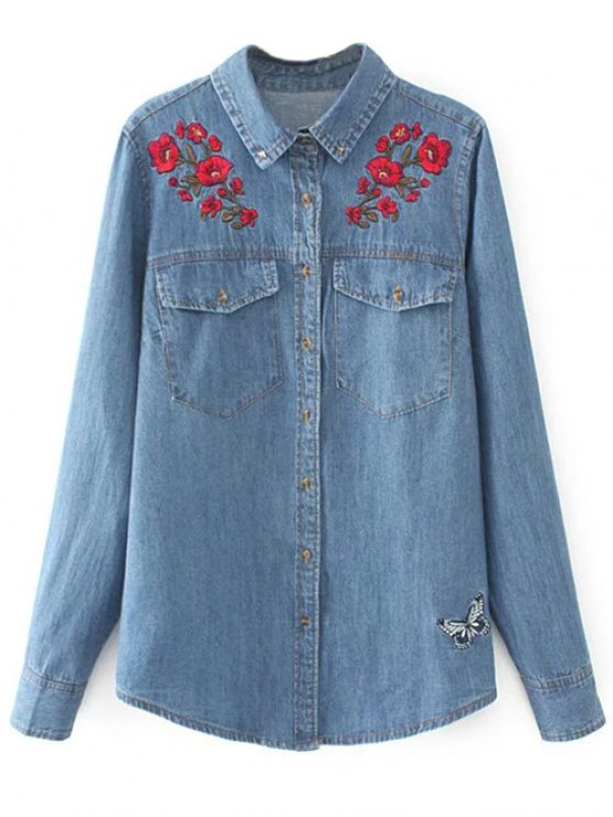 Embroidered Yoke Denim Shirt With Pockets - DENIM BLUE L Mobile