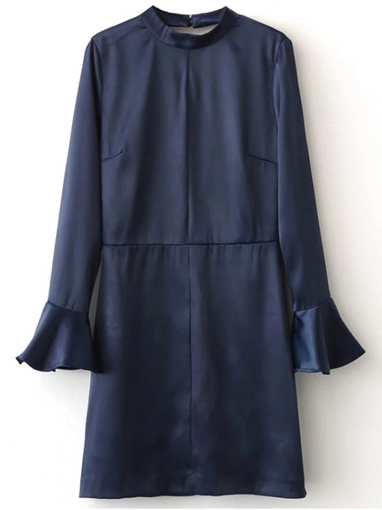 Bell Sleeve Cut Out Dress - BLUE S Mobile