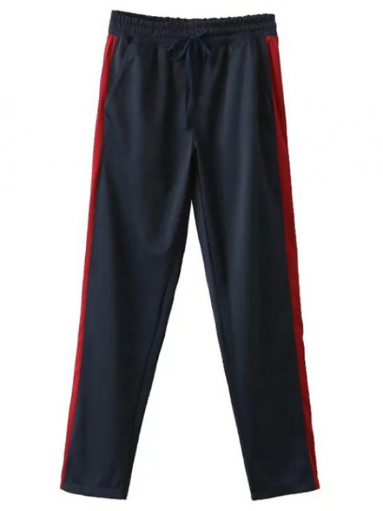 Side Stripe Buttoned Hem Sports Pants - PURPLISH BLUE S Mobile