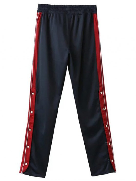 Side Stripe Buttoned Hem Sports Pants - PURPLISH BLUE M Mobile