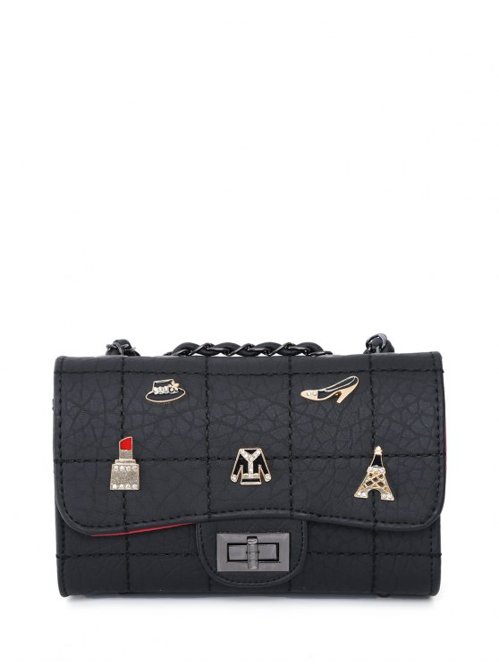 Badges Chains Shoulder Bag - BLACK  Mobile