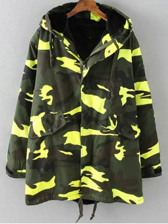 Camouflage Hooded Padded Utility Jacket - ARMY GREEN 4XL Mobile