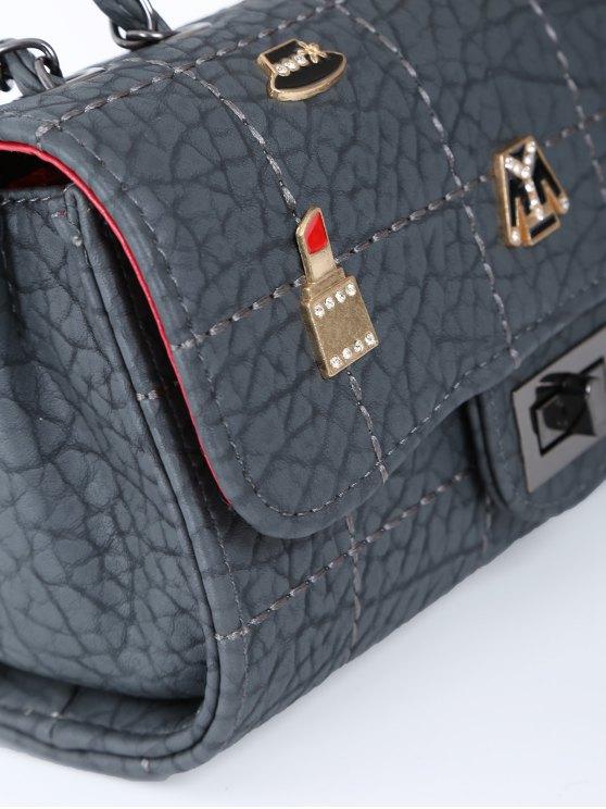 Badges Chains Shoulder Bag - GRAY  Mobile