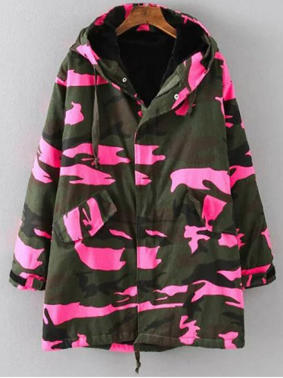 Camouflage Hooded Padded Utility Jacket - PINK 4XL Mobile