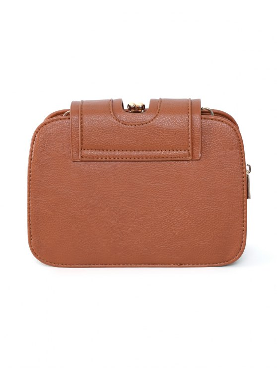 Kiss Lock PU Leather Crossbody Bag - BROWN  Mobile