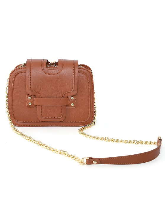 Kiss Lock PU Leather Crossbody Bag - BROWN  Mobile