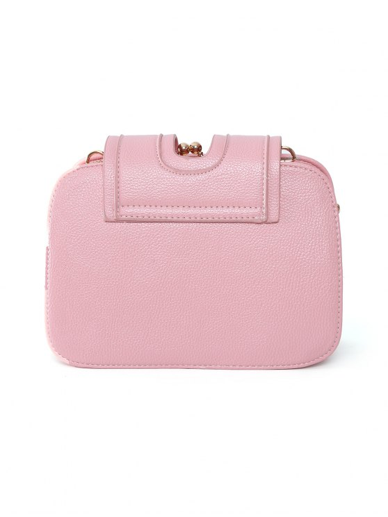 Kiss Lock PU Leather Crossbody Bag - PINK  Mobile