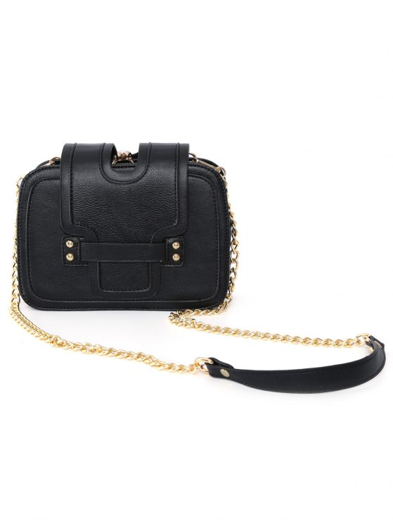 Kiss Lock PU Leather Crossbody Bag - BLACK  Mobile