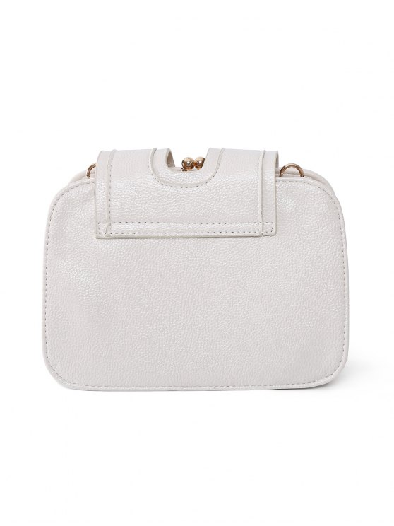Kiss Lock PU Leather Crossbody Bag - OFF-WHITE  Mobile