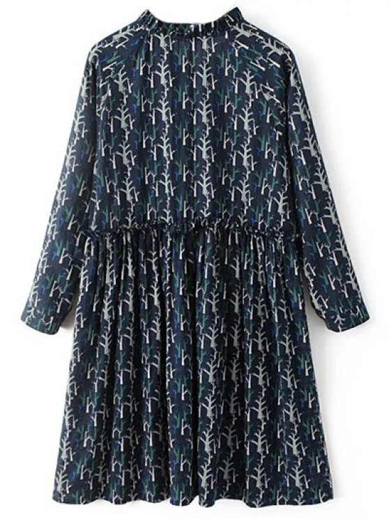 Tree Print Ruff Collar Smock Dress - DEEP BLUE L Mobile