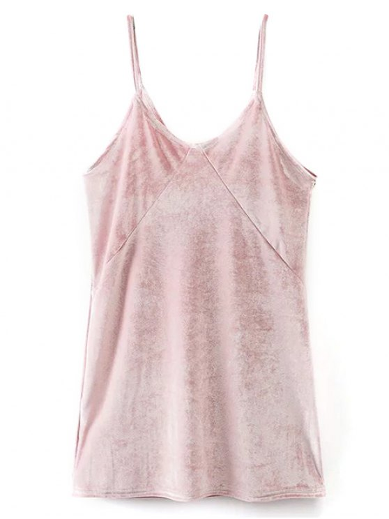 Cami Mini Velvet Dress - PINK L Mobile