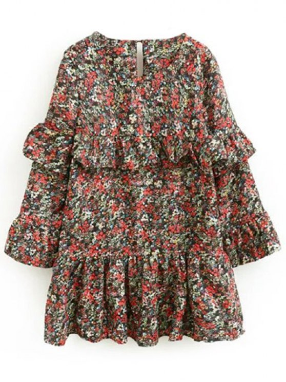 Tiny Floral Ruffles Layered Dress - FLORAL L Mobile