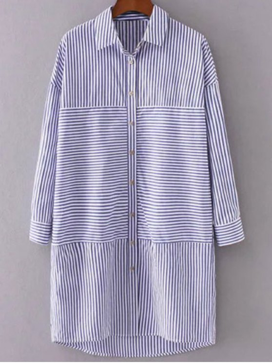 Button Up Striped Shift Shirt Dress - STRIPE S Mobile