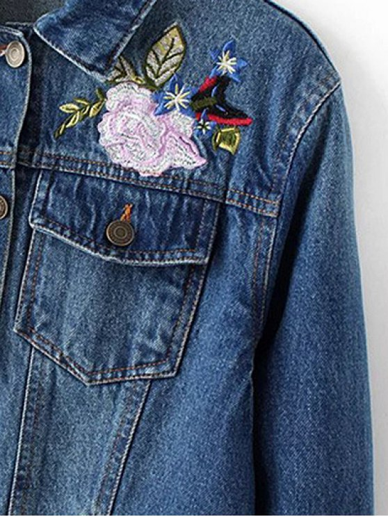 Dark Wash Floral Embroidered Denim Jacket - DENIM BLUE M Mobile