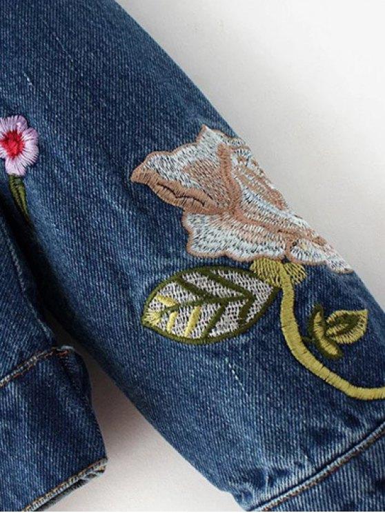 Dark Wash Floral Embroidered Denim Jacket - DENIM BLUE L Mobile