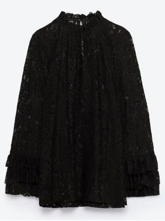 Layered Ruff Collar Lace Blouse - BLACK M Mobile