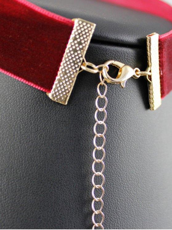 Teardrop Rhinestone Velvet Choker - WINE RED  Mobile