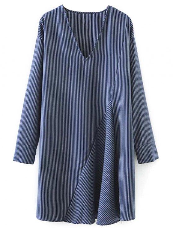 Striped V Neck Sorry Dress - BLUE L Mobile