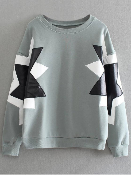 PU Leather Pentagram Pattern Sweatshirt - SAGE GREEN ONE SIZE Mobile