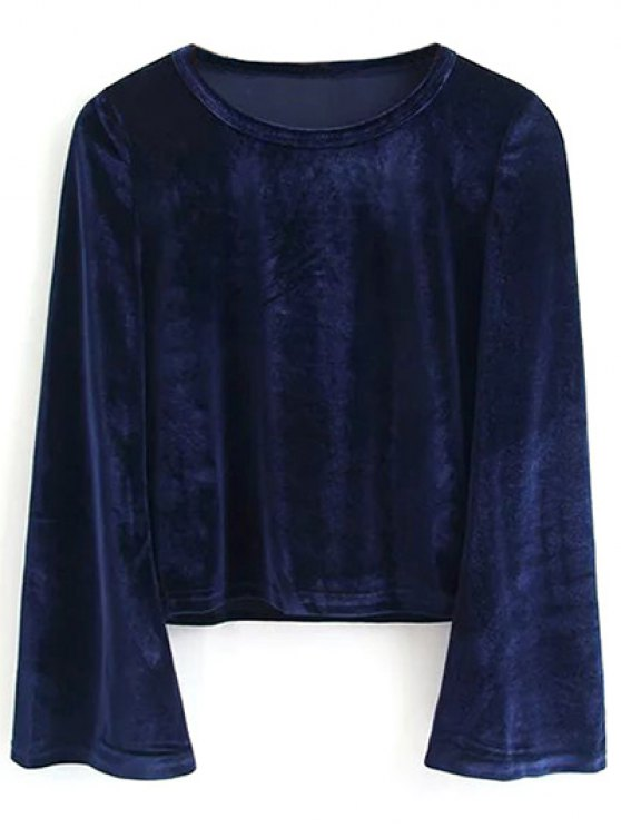 Pleuche Flare Sleeve Cropped Tee - PURPLISH BLUE S Mobile