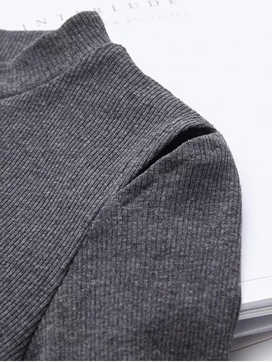 Flare Sleeve Cut Out Ribbed Knitwear - GRAY S Mobile