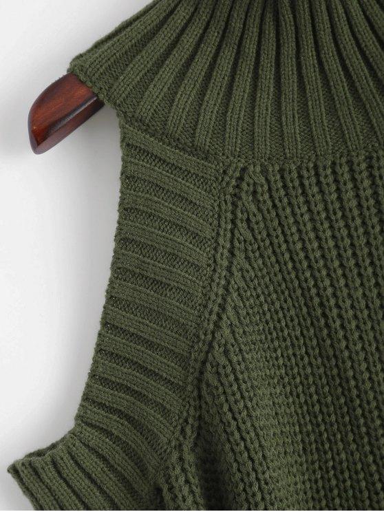 Cold Shoulder Funnel Collar Jumper - BLACKISH GREEN ONE SIZE Mobile