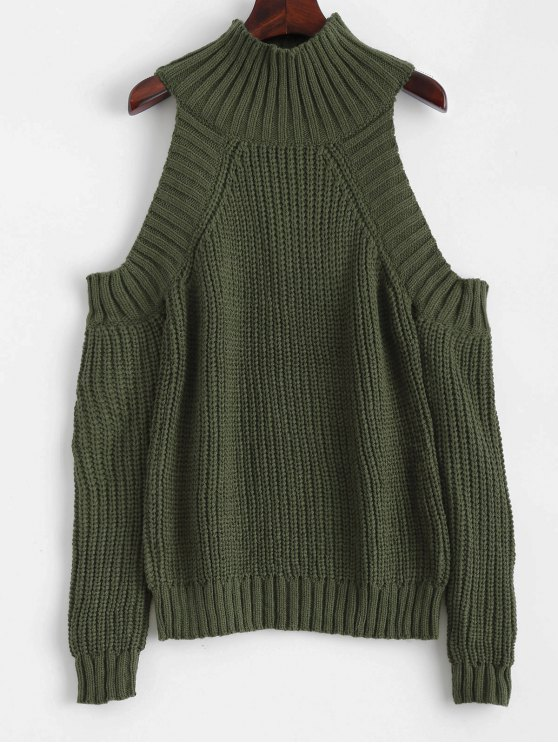 new Cold Shoulder Funnel Collar Jumper - BLACKISH GREEN ONE SIZE