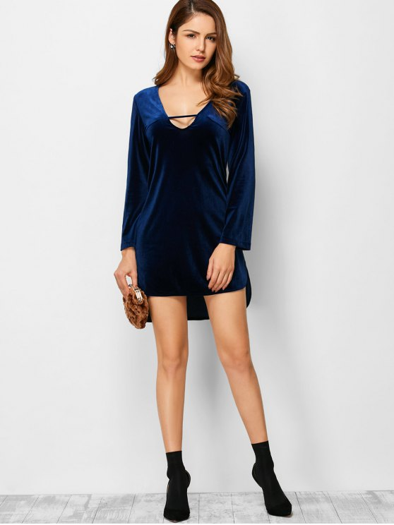 High-Low Mini Long Sleeve Party Dress - BLUE S Mobile