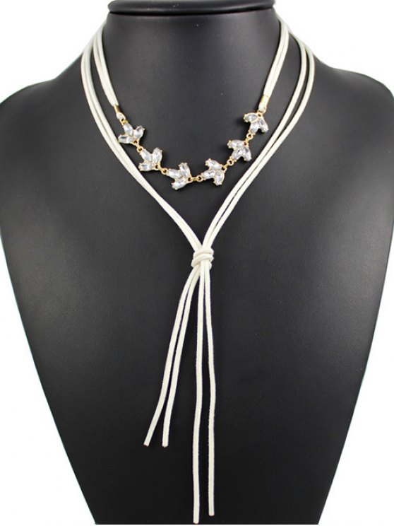 Layered Rhinestone Bolo Necklace - WHITE  Mobile