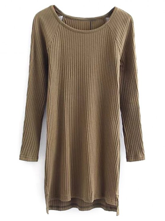 Cutout Ribbed Knitwear Dress - KHAKI M Mobile